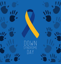 down syndrome day poster blue painted hands symbol vector image
