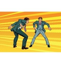 duel businessmen on smartphones in style of vector image