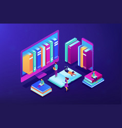 e-library isometric 3d concept vector image