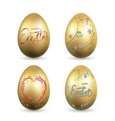 easter egg 3d icon gold eggs set lettering vector image