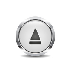 eject icon image round 3d button with metal frame vector image