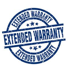 extended warranty blue round grunge stamp vector image