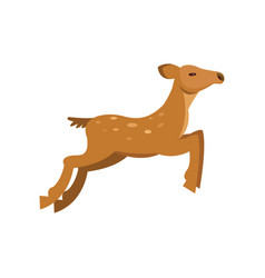 fallow sika roe deer jumping wild animal cartoon vector image