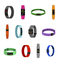 fitness bracelet set sport and training tracker vector image