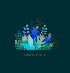 flat leaves - background for banner greeting card vector image