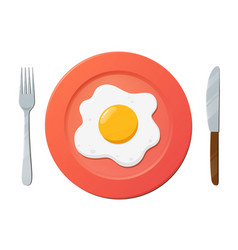Fried egg on plate with fork and knife on white vector