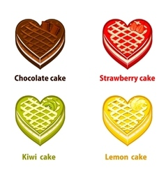 Fruit cupcakes collection valentines day vector