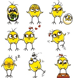 Funny chickens individually grouped vector