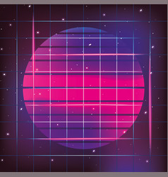 geometric sun neon and graphic style vector image