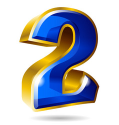golden and blue number 2 isolated on white vector image