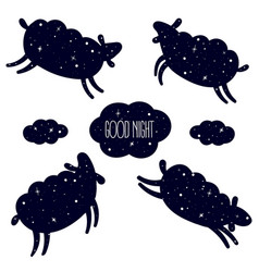 good night card with jumping sheeps count sleep vector image