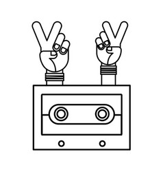 hands peace and love cassette hippie retro vector image