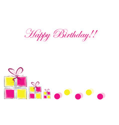 happy birthday card with gift boxes vector image
