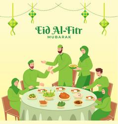 Happy eid al fitr greeting card vector