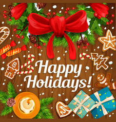 happy winter holidays gifts greeting card vector image