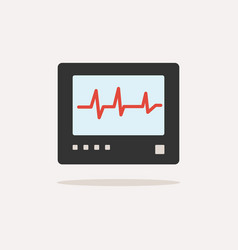 heart rate monitor color icon with shade heartbea vector image