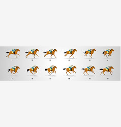 Horse rider run cyle animation sprite sheet loop vector