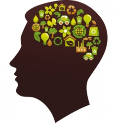 human head with eco icons vector image