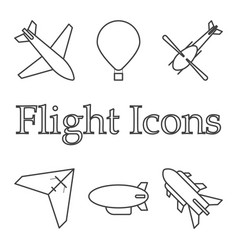 icons of air vehicles on white background vector image