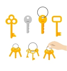 Keys bunch key hanging on ring hand vector
