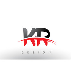 kr k r brush logo letters with red and black vector image