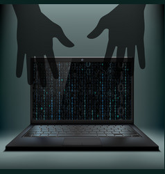 laptop with a binary code on the screen vector image