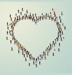 large group of people in heart vector image