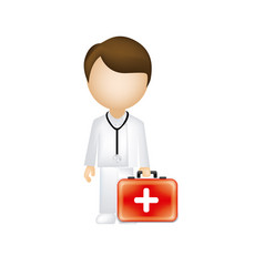 Man doctor with suitcase icon vector