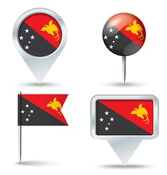 Map pins with flag of Papua New Guinea vector
