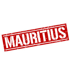 Mauritius red square stamp vector