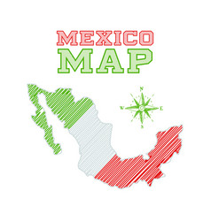 mexico map flag colors sketch country shape vector image