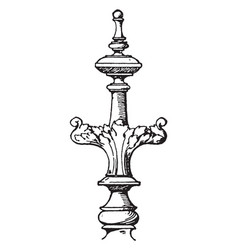 Modern finial furniture vintage engraving vector