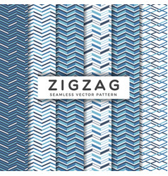 navy blue zigzag seamless patterns vector image