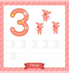 Number 3 animal tracing worksheet vector