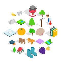 Observing the nature icons set isometric style vector