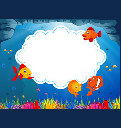 Ocean view with the cloud board blank space vector
