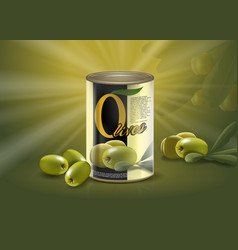 Olive can realistic metal container with delicacy vector