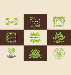Organic product logo template set natural vegan vector