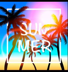 palms summer cover frame banner vector image
