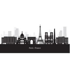 paris france landmarks skyline black and white vector image