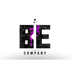 purple black alphabet letter be b e logo vector image