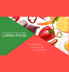 Realistic healthy food colorful composition vector