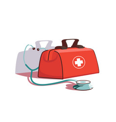 red first aid kit and stethoscope equipment vector image