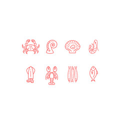 red linear seafood icon set flat design vector image