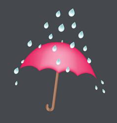 red umbrella under rain drops concept safety keep vector image