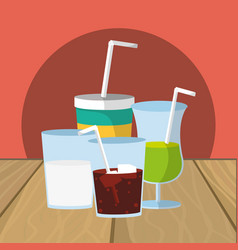 refresh drinks cartoon vector image