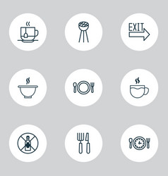 restaurant icons set with cutlery exit sign soup vector image