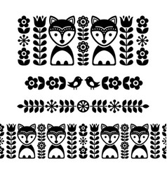 Scandinavian folk art pattern - black long stripe vector