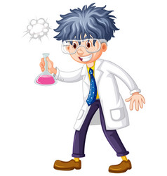 Scientist holding test tube in hand vector