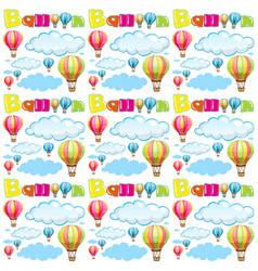 Seamless background with balloons and clouds in vector